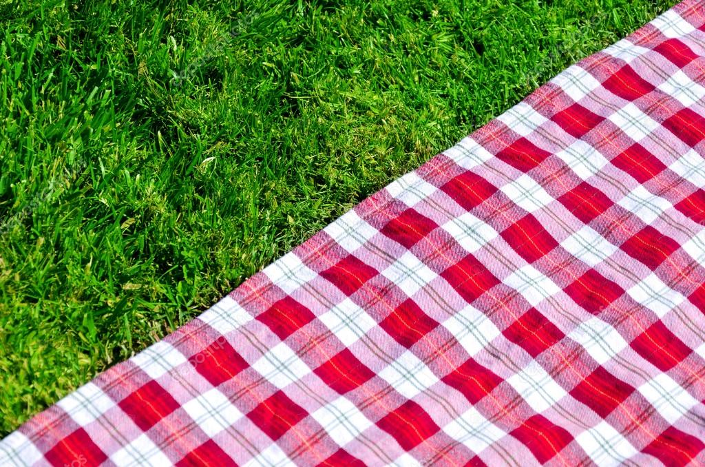 Picnic tablecloth on the grass