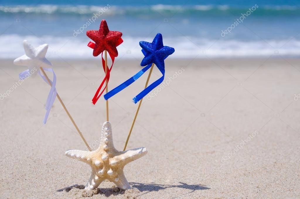 Patriotic USA background with starfish