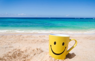 "Картина, постер, плакат, фотообои ""счастливое лицо кружка на пляже "", артикул 77237624"
