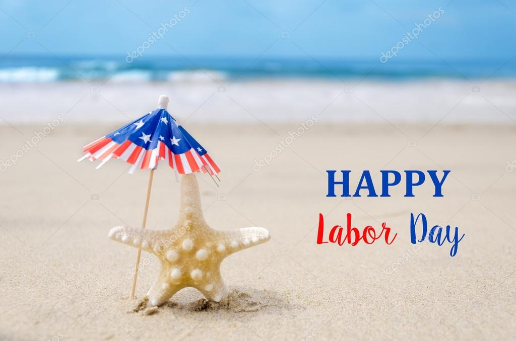 Labor Day USA background with starfishes