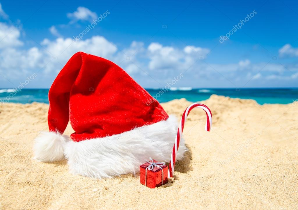 Tropical beach Christmas and New Year background