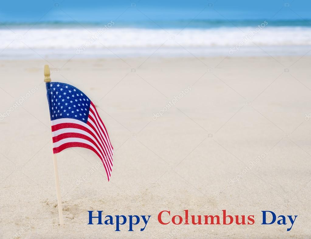 Columbus Day  background with American flag