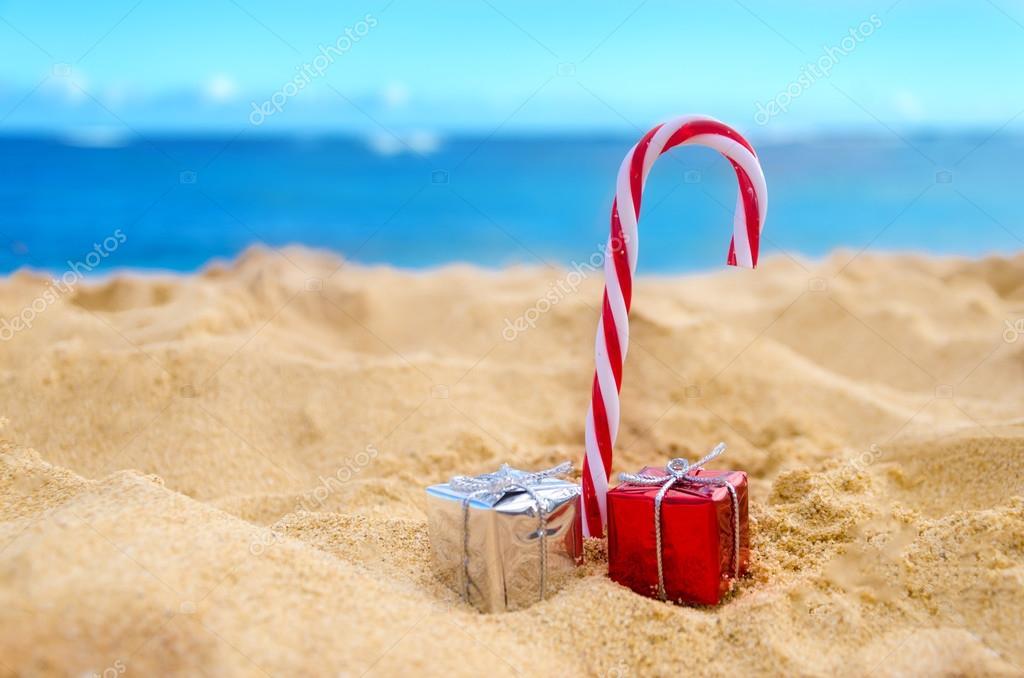 Frohe Weihnachten Hawaii.Tropischen Strand Hintergrund Von Weihnachten Und Neujahr