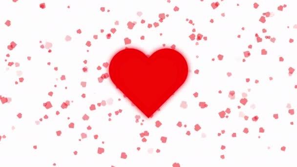 Animation of A piros szív veri a háttér-ból kis szív lebeg a fehér háttér. Valentin-napi koncepció.