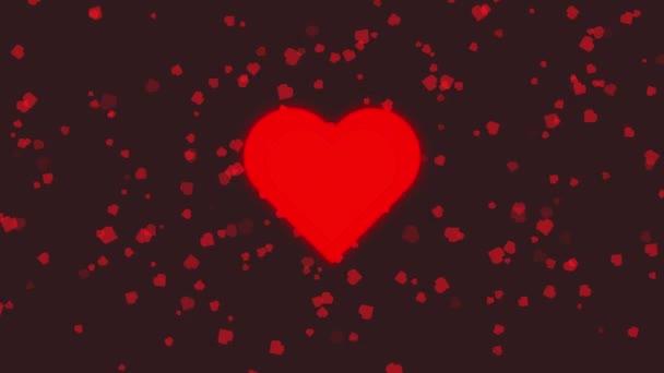 Animation of A piros szív veri a háttér-ból kis szív lebeg a fekete háttér. Valentin-napi koncepció.