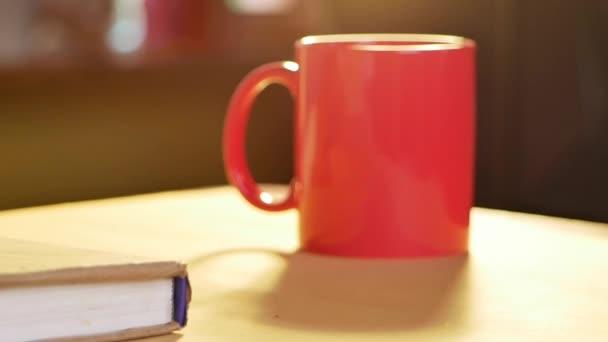 Großaufnahme Hand in Hand trinken junge Frauen heißen Kaffee, während sie zu Hause ein Buch lesen. Nach Coronavirus-Pandemie zu Hause bleiben.