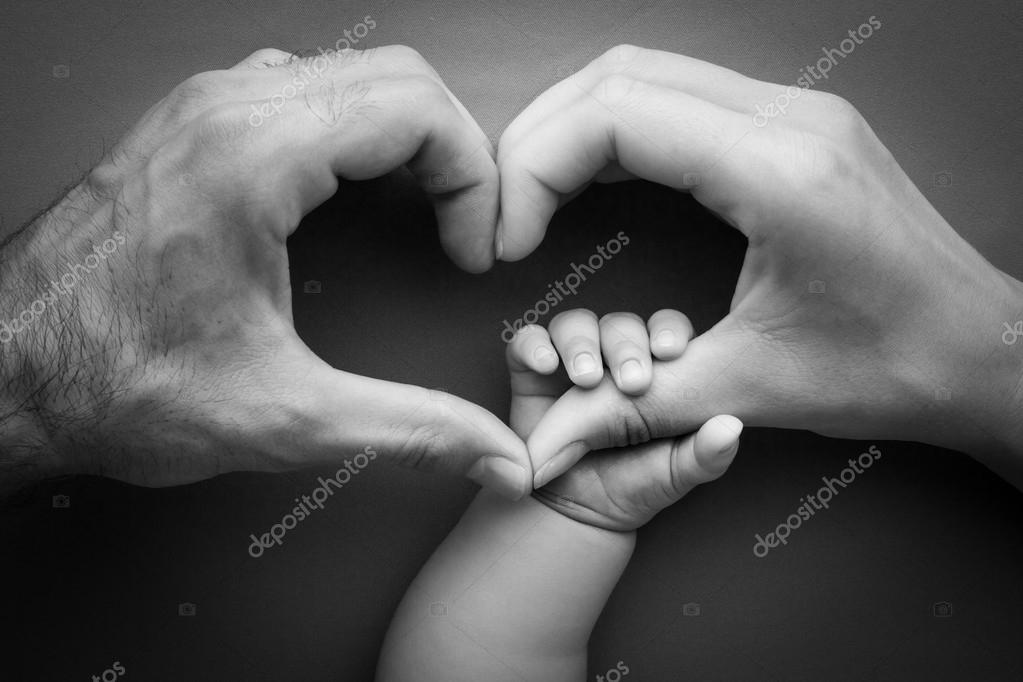Family Mother With Father Holding Baby Hand Holding Mother Hand
