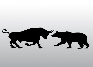 Black silhouette bull and bear financial icons