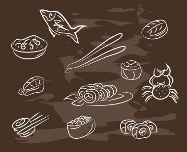 Collection of hand-drawn  seafood