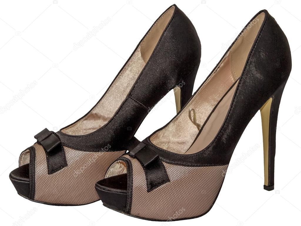 b78be9ea1e4 Παπούτσια γυναικεία ανοικτή toe ματιών τόξο ψηλοτάκουνα μπεζ μαύρο  απομονωμένες λευκό φόντο — Εικόνα από ...