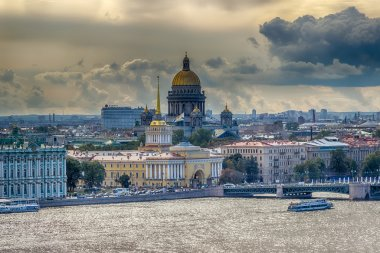 St. Isaac's Cathedral  top view  Neva river  Building  Main Admi