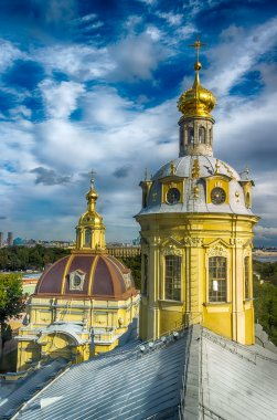 Dome  Peter and Paul Cathedral top view panorama St.-Petersburg