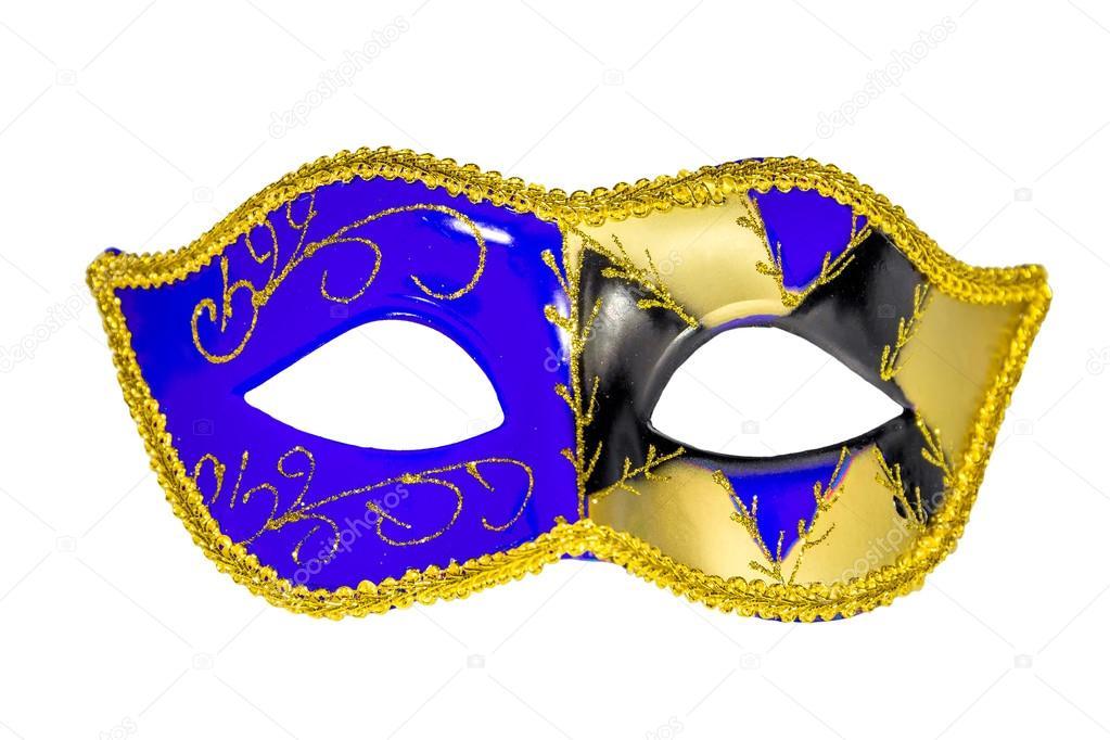Venedik Karnaval Maske Mavi Sarı Siyah Asimetrik Desenli Stok Foto
