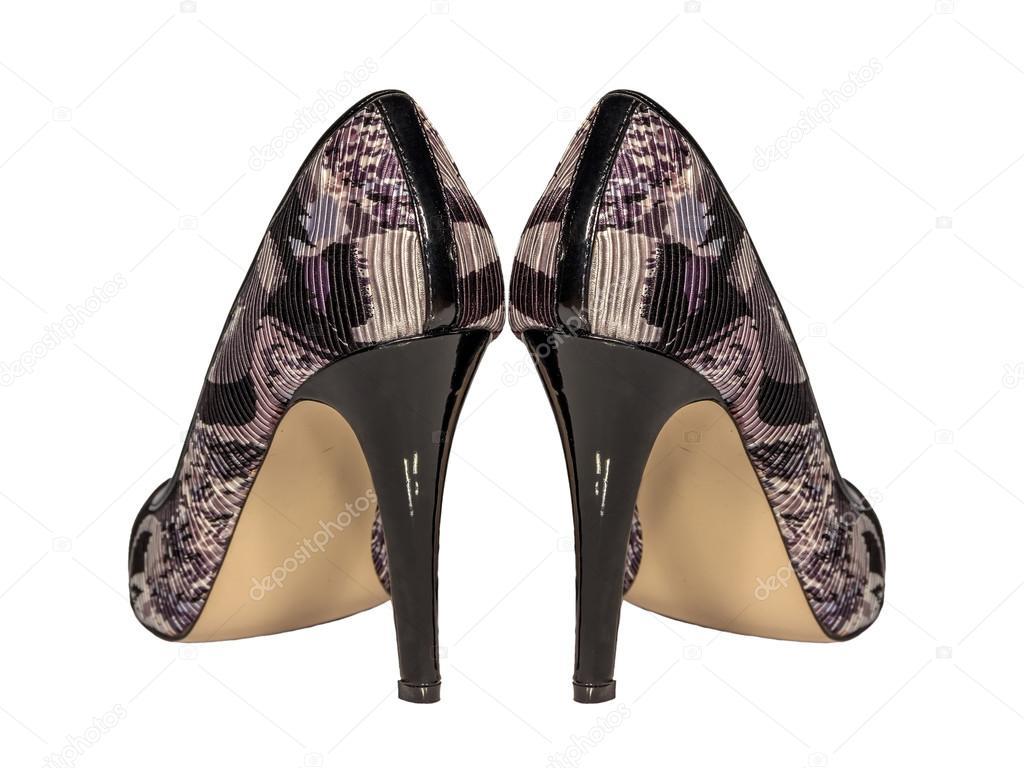 1ebaa46d7ab Γυναίκες ψηλοτάκουνα παπούτσια χρώμα καφέ γκρι χακί στρατιωτική προβολή  πίσω ζευγάρι απομονωθεί λευκό φόντο — Εικόνα από ...