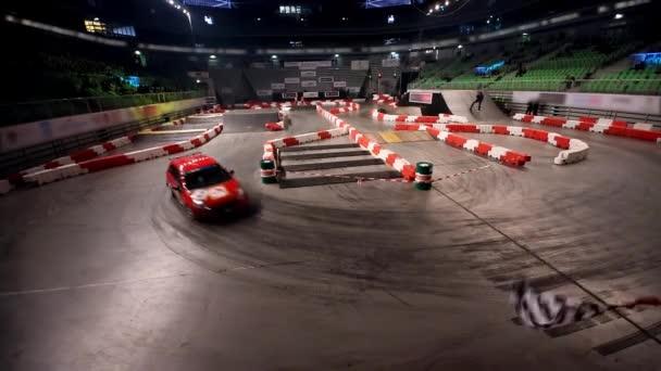 Car racing indoors