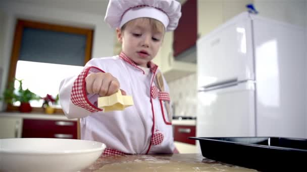 Young cook weighting flour