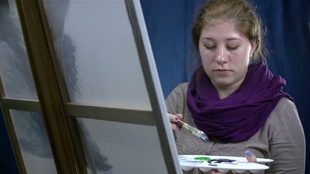 Výkres žena na plátně