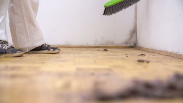 Žena na zametání zaprášené podlaze
