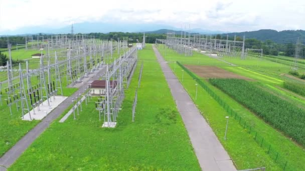 Aerial Power station distribution electric lines.