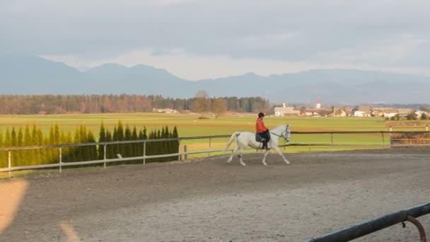 Girl galloping on white horse