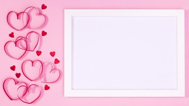 Valentines day hearts move next to frame for text. Stop motion