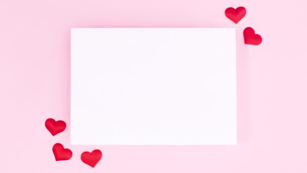 Valentines day stop motion animation with frame and hearts