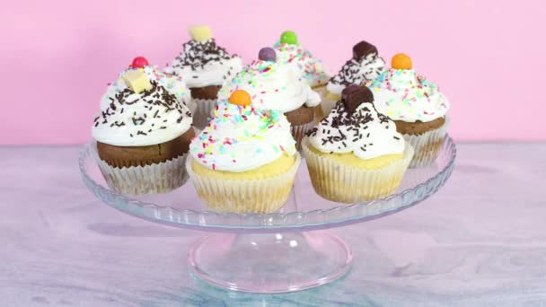 Sweet cup cakes served on crystal plate for the party