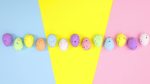 Moving up and down Easter eggs on colorful theme. Stop motion