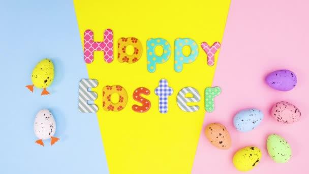 Frohe Ostern Stop-Motion-Bewegung bewegte Eier und Text zum Thema Pastell