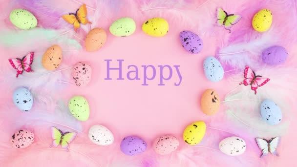 Boldog húsvéti szöveget írni belsejében élénk keret tojások, tollak és pillangók. Állj!