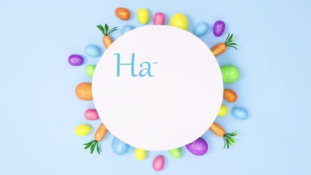 Frohe Ostern Text auf Papier schreiben, umgeben von lebendigen Ostereiern. Stop-Motion