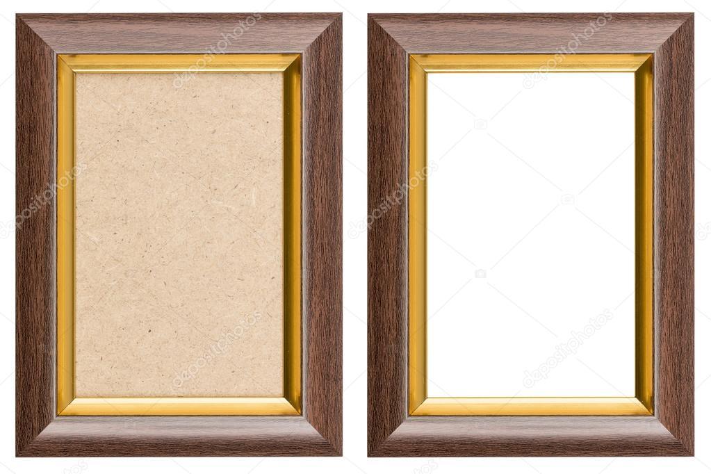 marrón y oro marco de madera con y sin fiberboar — Fotos de Stock ...