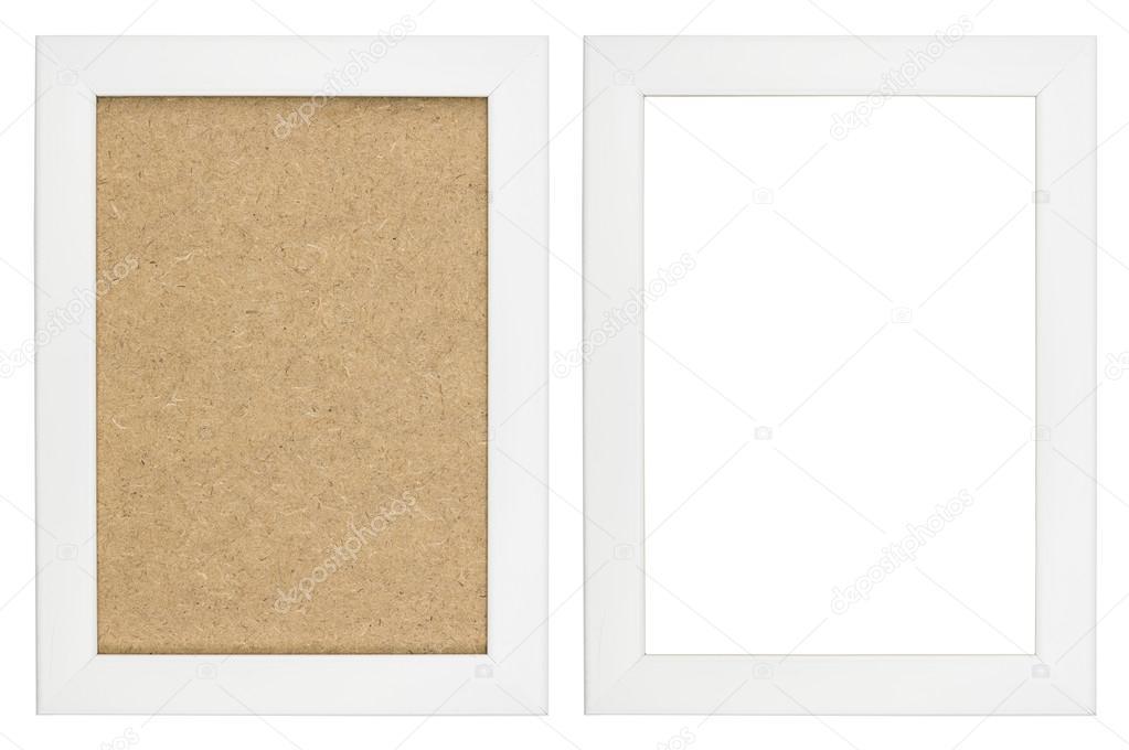 blanco marco de madera con y sin fondo de fibra de madera — Foto de ...