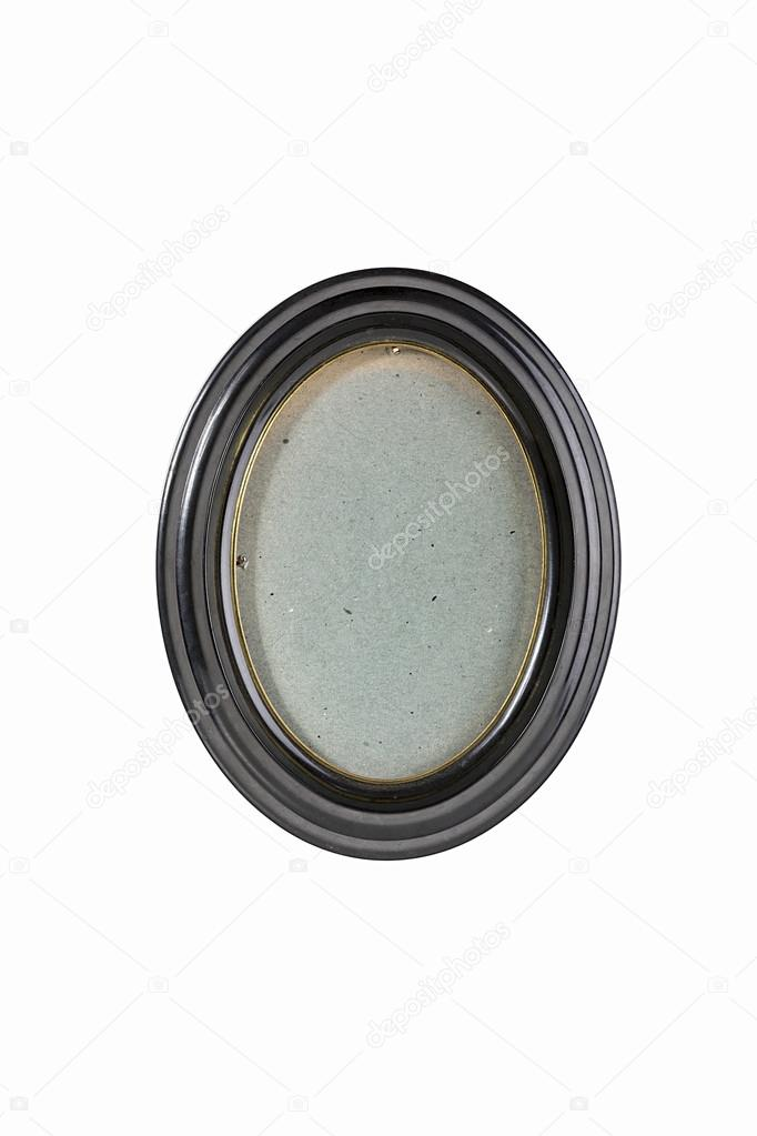 oval black picture frame with gray cardboard background, isolate ...