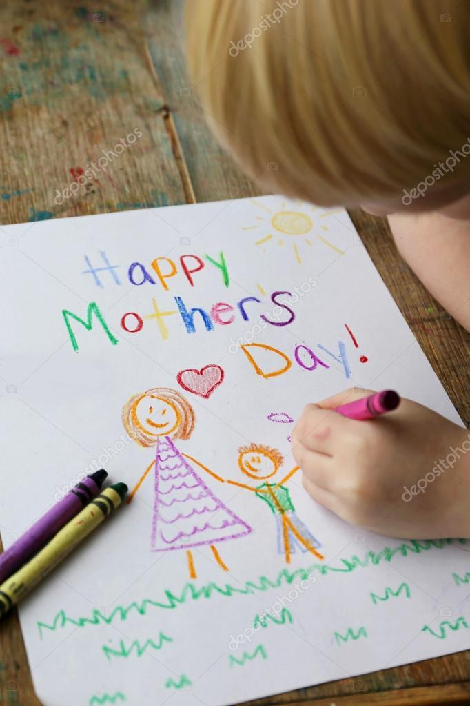 Kind glücklich Muttertagskarte Färbung — Stockfoto © Christin_Lola ...