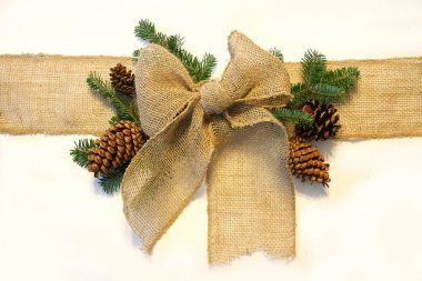 Burlap Christmas Bow and Pine Cones Wrapped Around White Backgro