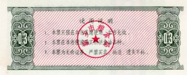 Banknote of China food coupon 0,3 1983 the reverse side