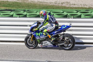 Valentino Rossi of Yamaha Factory team racing