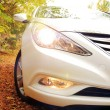 stock-photo-headlamps-on-white-car