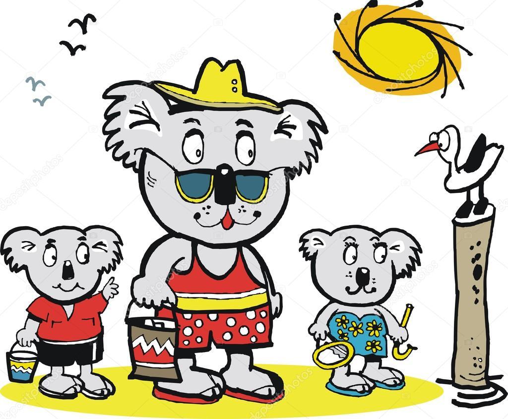familia de osos de Koala en la playa — Archivo Imágenes Vectoriales ...