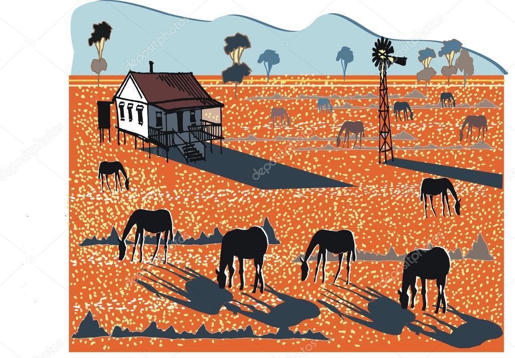 Horses in Australian outback