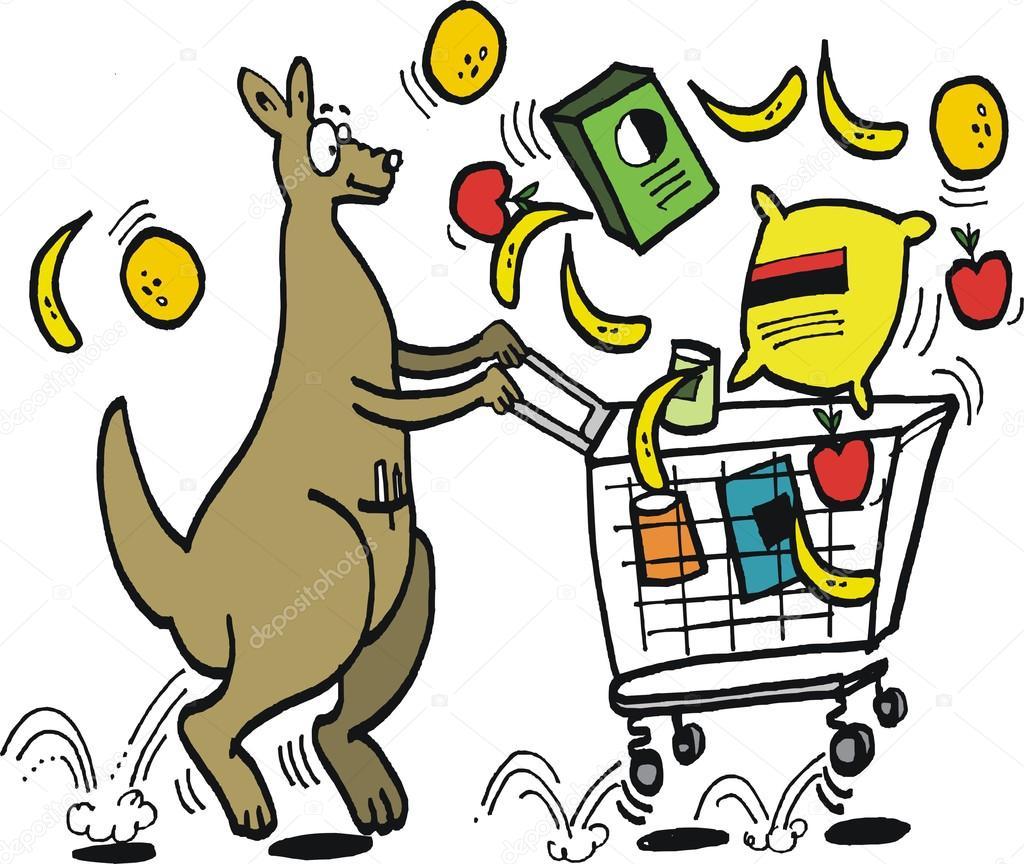 Vector Cartoon Of Happy Kangaroo Pushing Supermarket Trolley Stock Vector C Click60 93278034