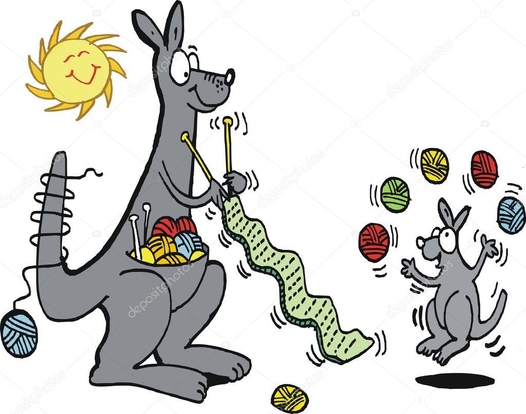 Dibujos animados de vector mostrando canguro feliz tejer bufanda ...