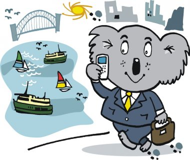Happy koala bear business man with mobile phone and Sydney harbor background Australia