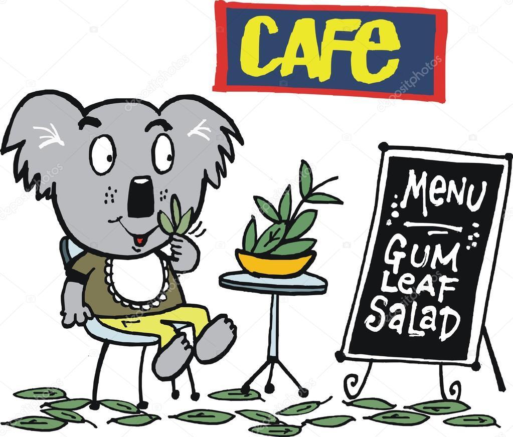 Animales comiendo dibujo   Koala oso de dibujos animados que muestra ...