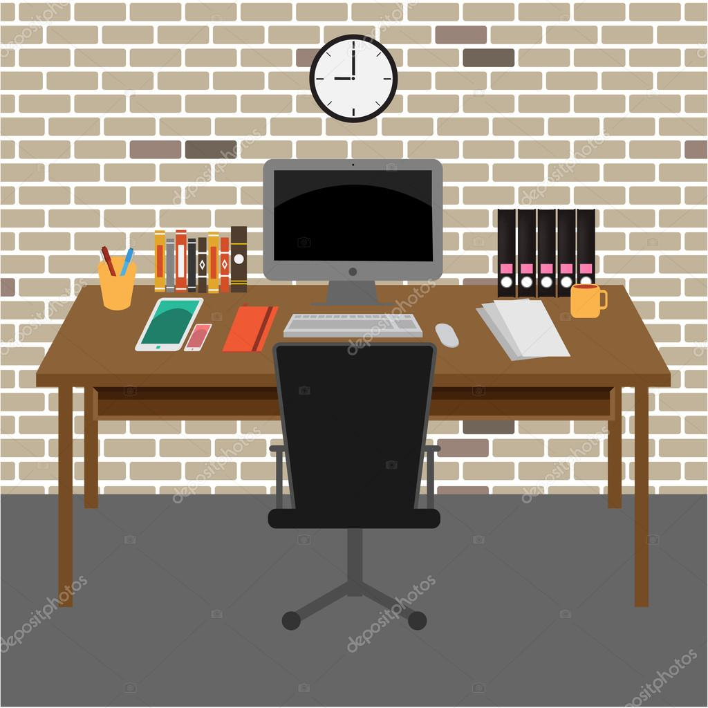 Vector Office Room Interior Books Desk Clock Computer Paper By 5432action