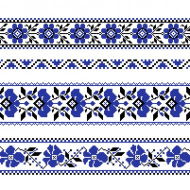 Set of Ethnic ornament pattern with  cross stitch  flower
