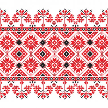 Set of Ethnic ornament pattern in red, black and white colors