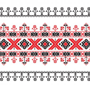 Set of Ethnic ornament pattern in red and black colors