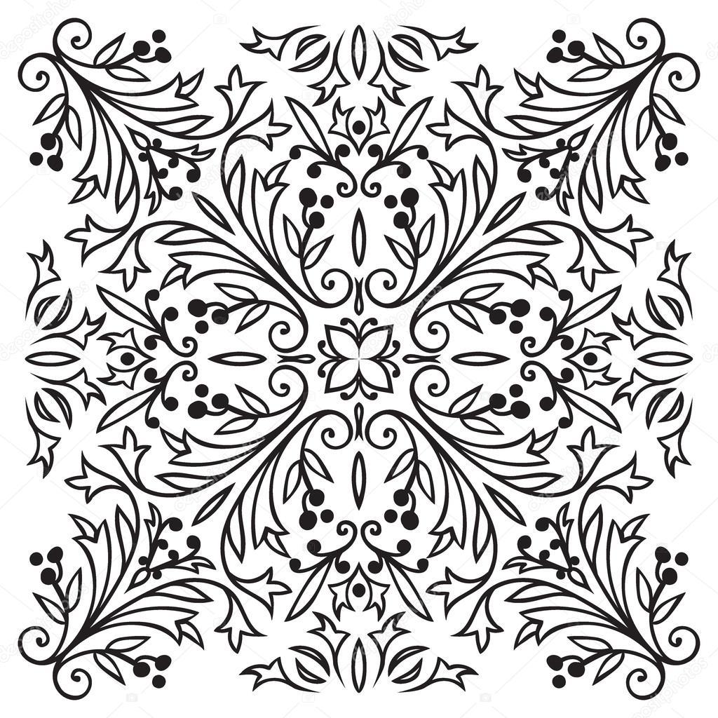 Hand-Zeichnung Jahrgang schwarze Linie Fliesenmuster — Stockvektor ...